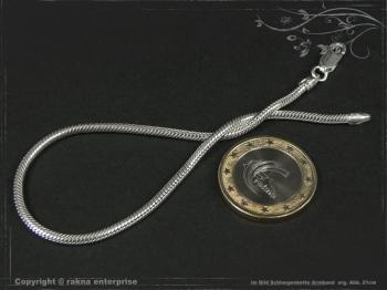 Schlangenkette Armband D2.2L17 massiv 925 Sterling Silber