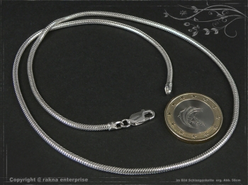 Schlangenkette D2.2L75 massiv 925 Sterling Silber