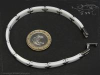 Design Armband Keramik-Edelstahl weiß 22.5cm