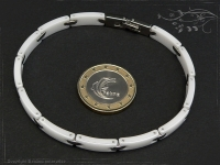 Design Armband Keramik-Edelstahl weiß 19cm